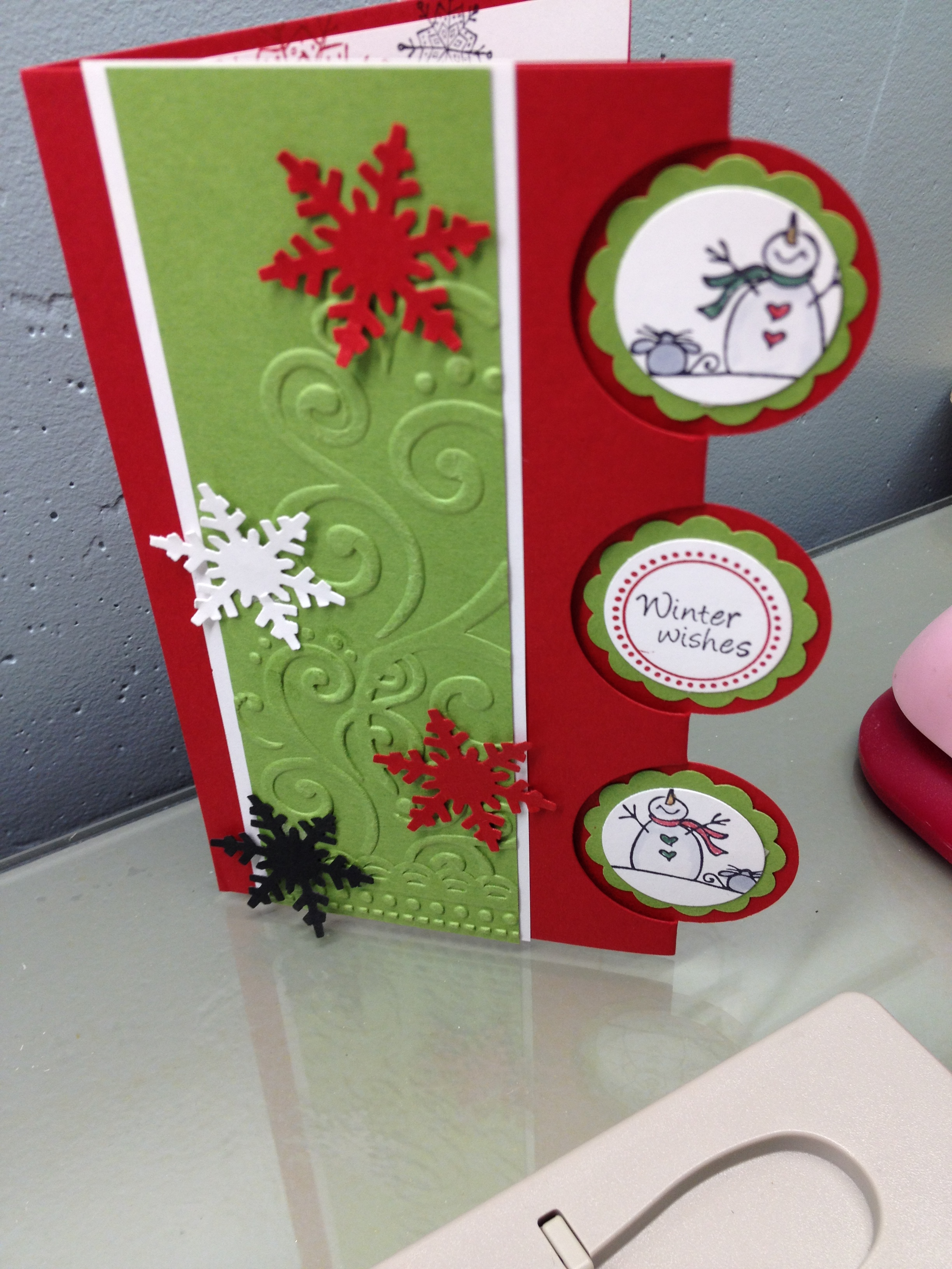 So I Really Like Using Crazy Colors For Snowman Cards! Makes Them So  Interesting. This Was A Popular Card At The One Of A Kind Rubber Stamp Show  In Madison.